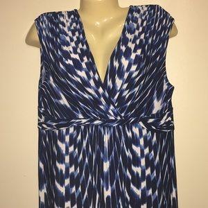Chicos Maxi Empire Waist Dress Sleeveless Abstract